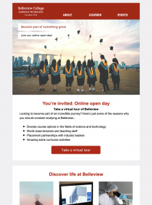 Email template for university open days