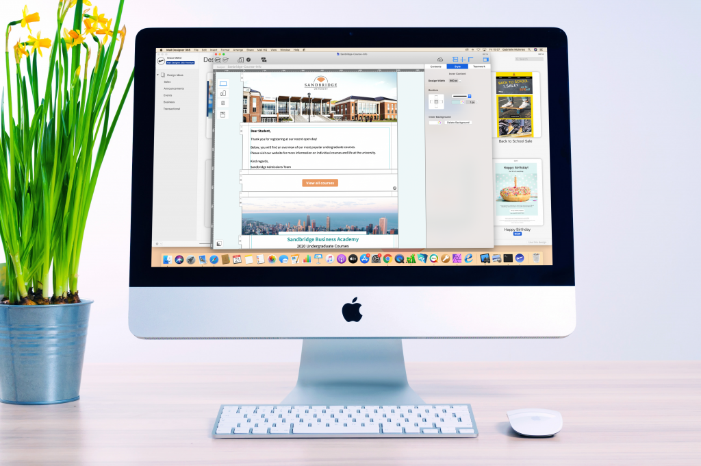 Education template in Mail Designer 365 on an iMac
