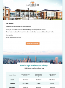 HTML email template for universities and colleges
