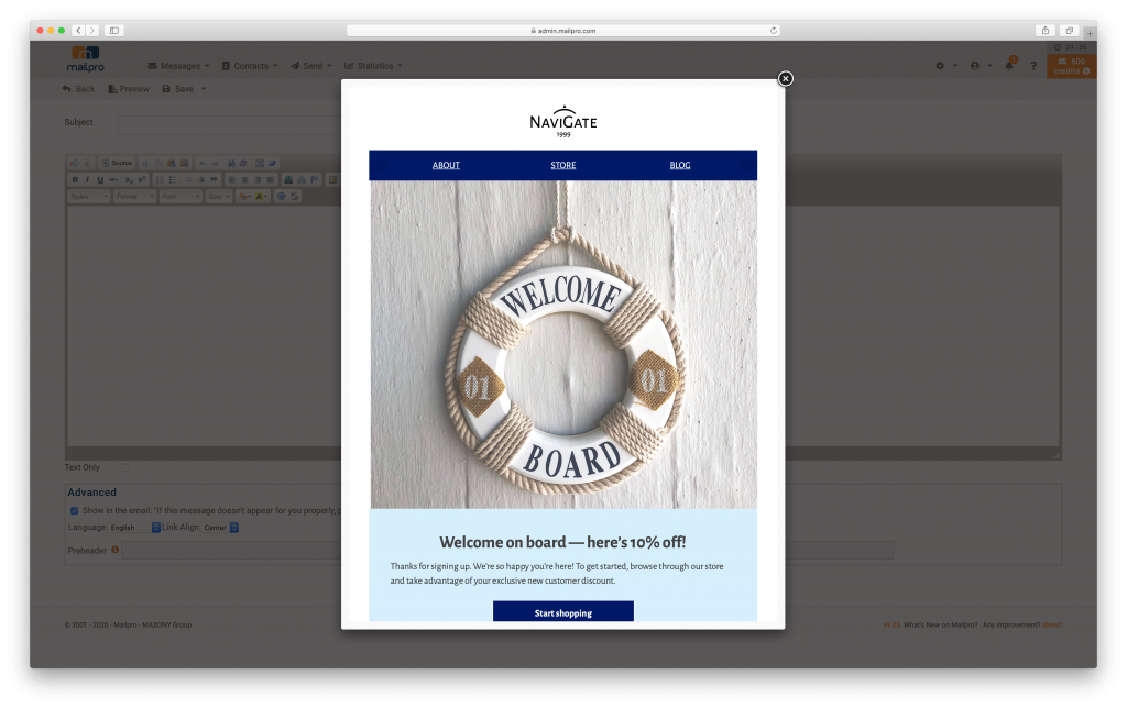 Mail Designer 365 template in Mailpro