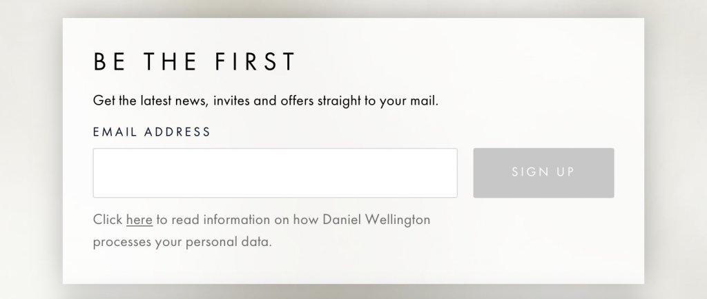 Daniel Wellington email opt in form
