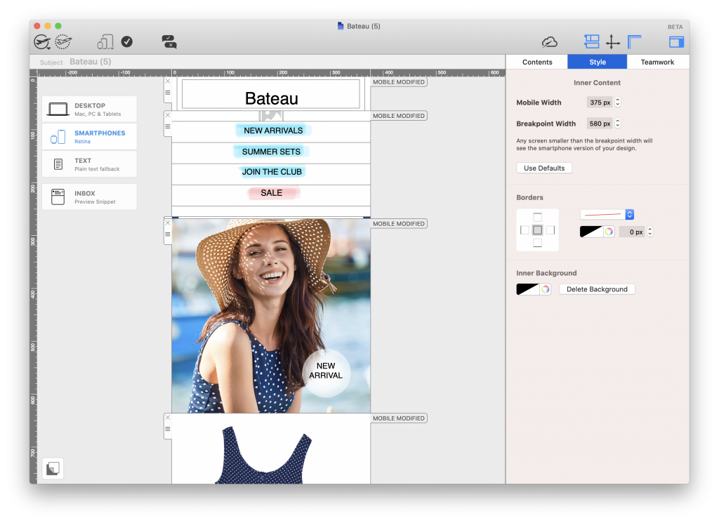 Mail Designer 365 smartphone editor