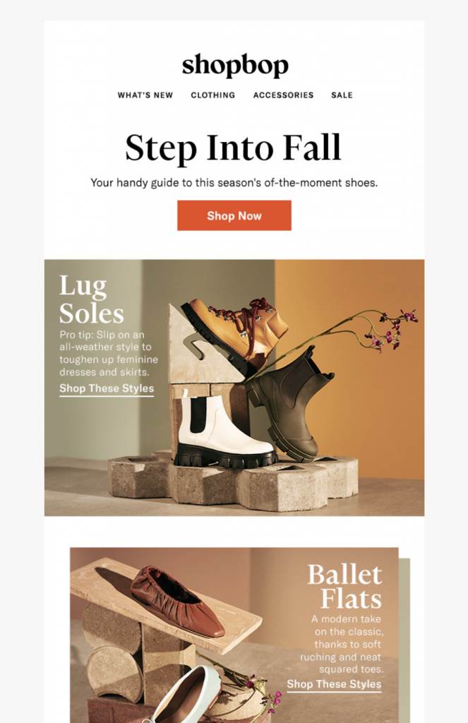 Fall email design by Shopbop