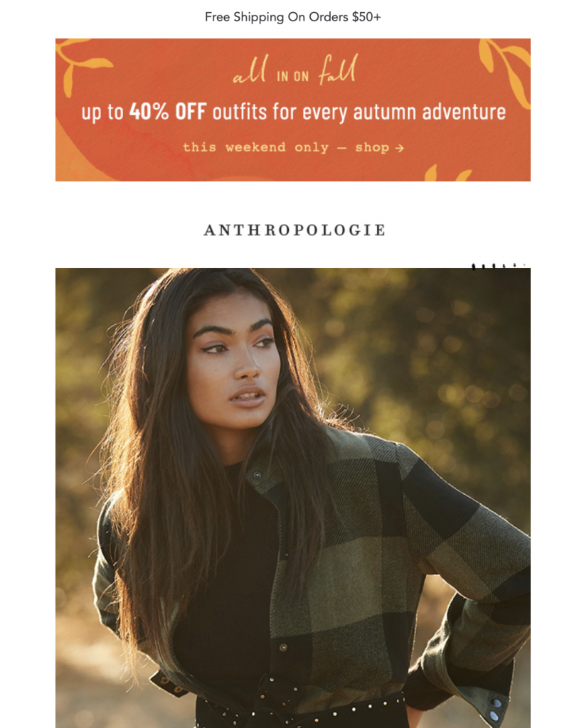 Fall email campaign by Anthropologie
