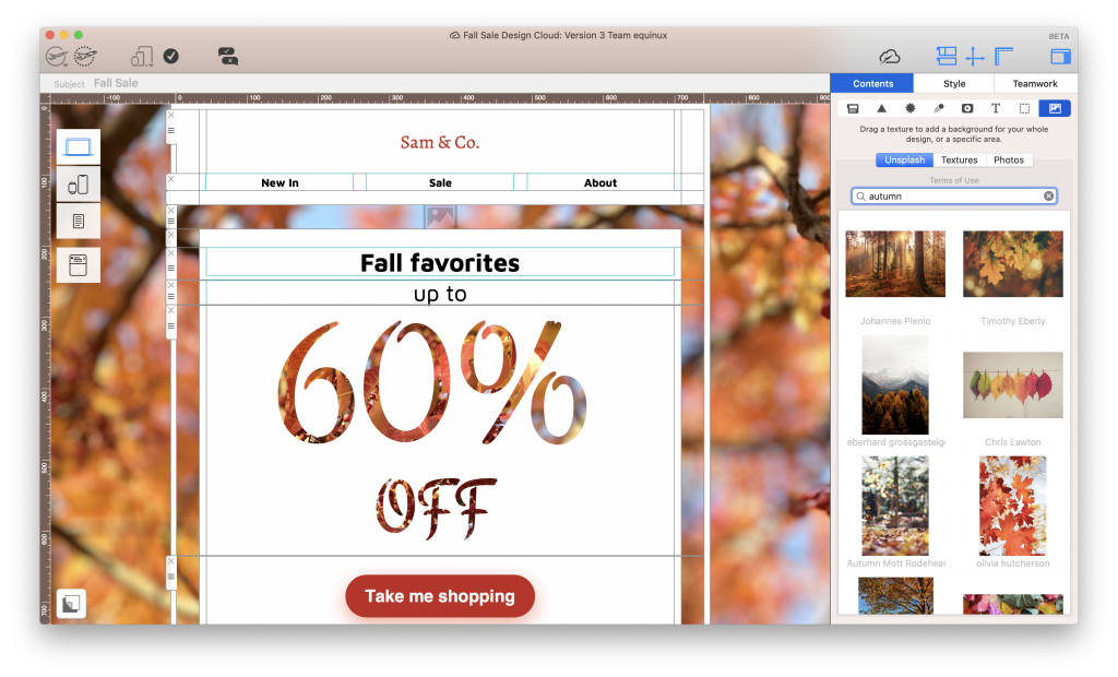 Using Unsplash integration in Mail Designer 365 to find autumnal images