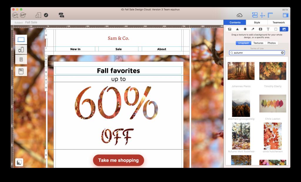 Using Unsplash integration in Mail Designer 365 to find autumnal images
