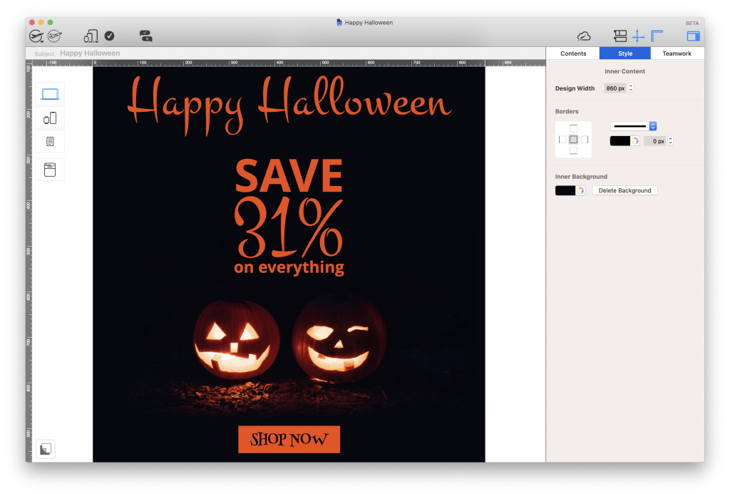 Halloween email template in Mail Designer 365