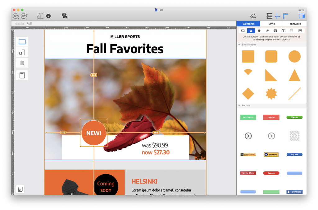 Eye-catcher badge for a fall email campaign - Made in Mail Designer 365