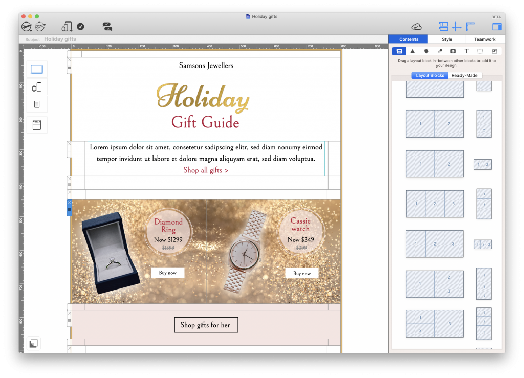 Holiday gift guide built in Mail Designer 365