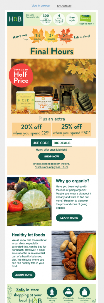 Fall email campaign by Holland & Barrett