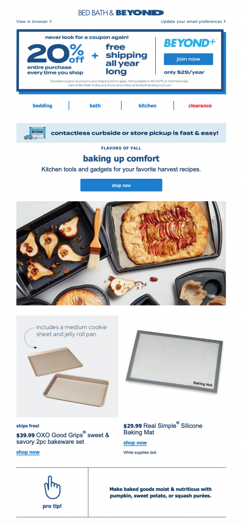 Fall baking campaign by Bed, Bath & beyond