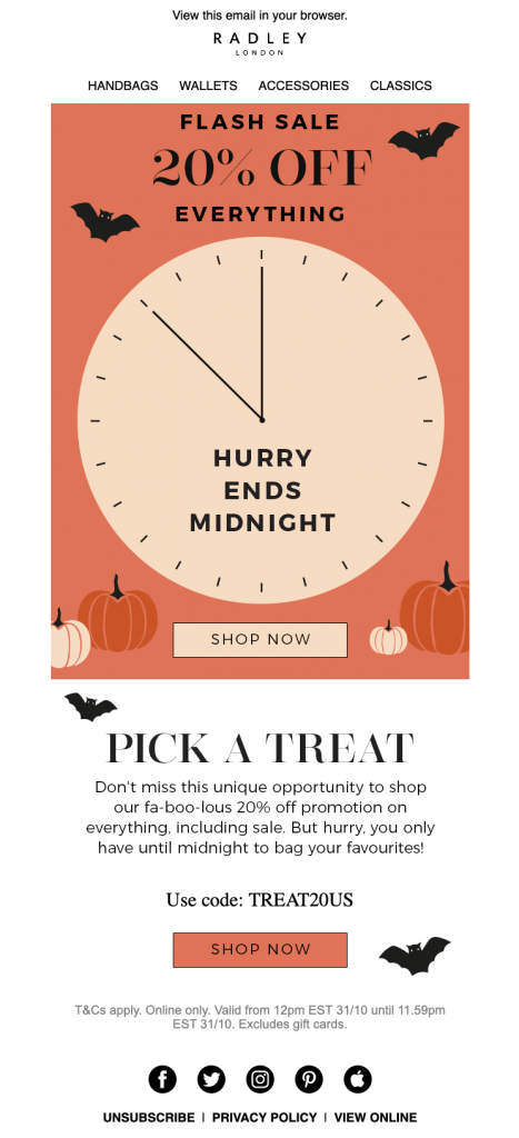 Halloween email campaign by Radley