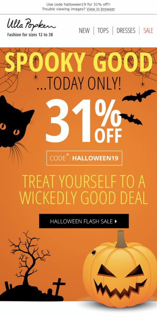 Halloween email design by Ulla Popken
