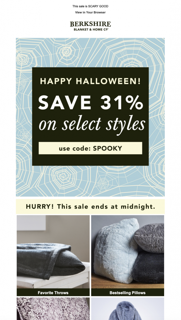 Halloween email by Berkshire Blanket & Home Co.