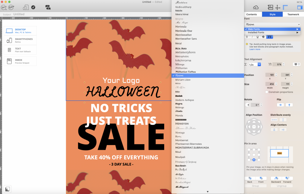 Using Halloween style web fonts in Mail Designer 365