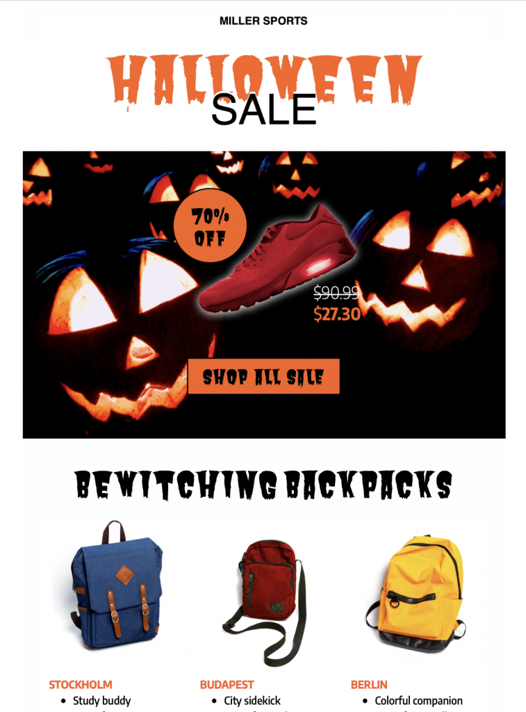 Halloween Sale HTML email template in Mail Designer 365
