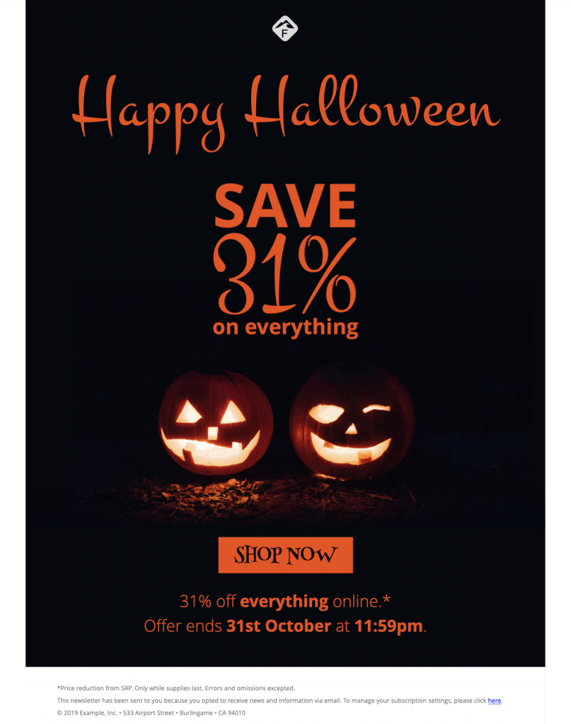 Halloween email promotion template in Mail Designer 365
