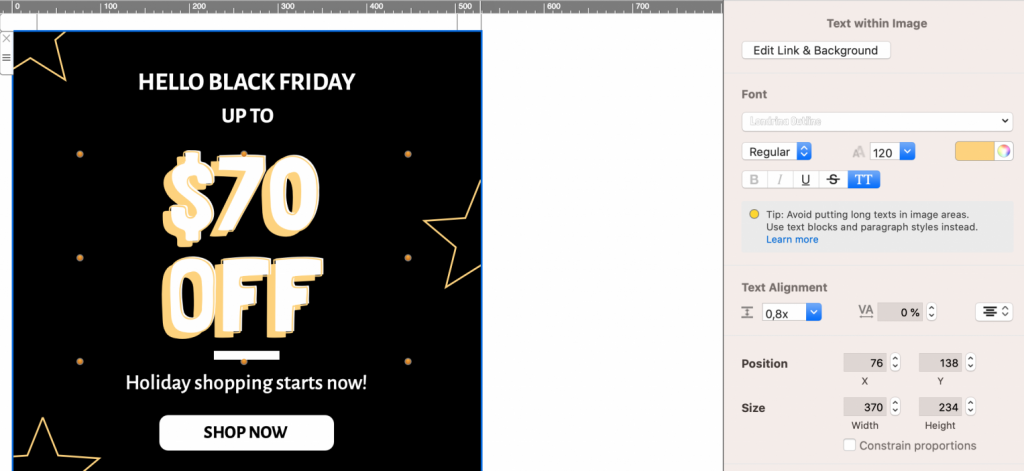 Black Friday email template made with Mail Designer 365