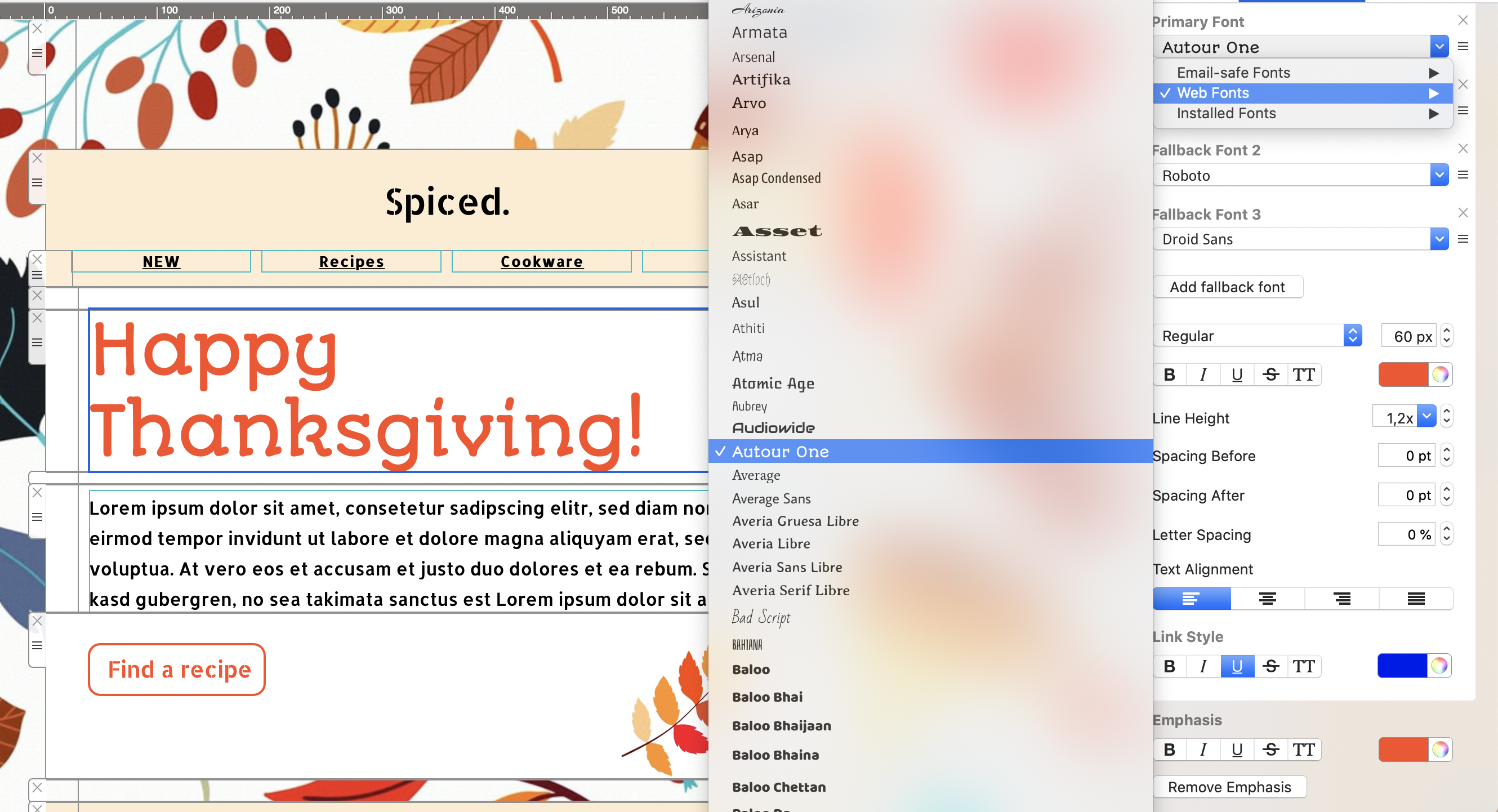 Thanksgiving email template made with Mail Designer 365