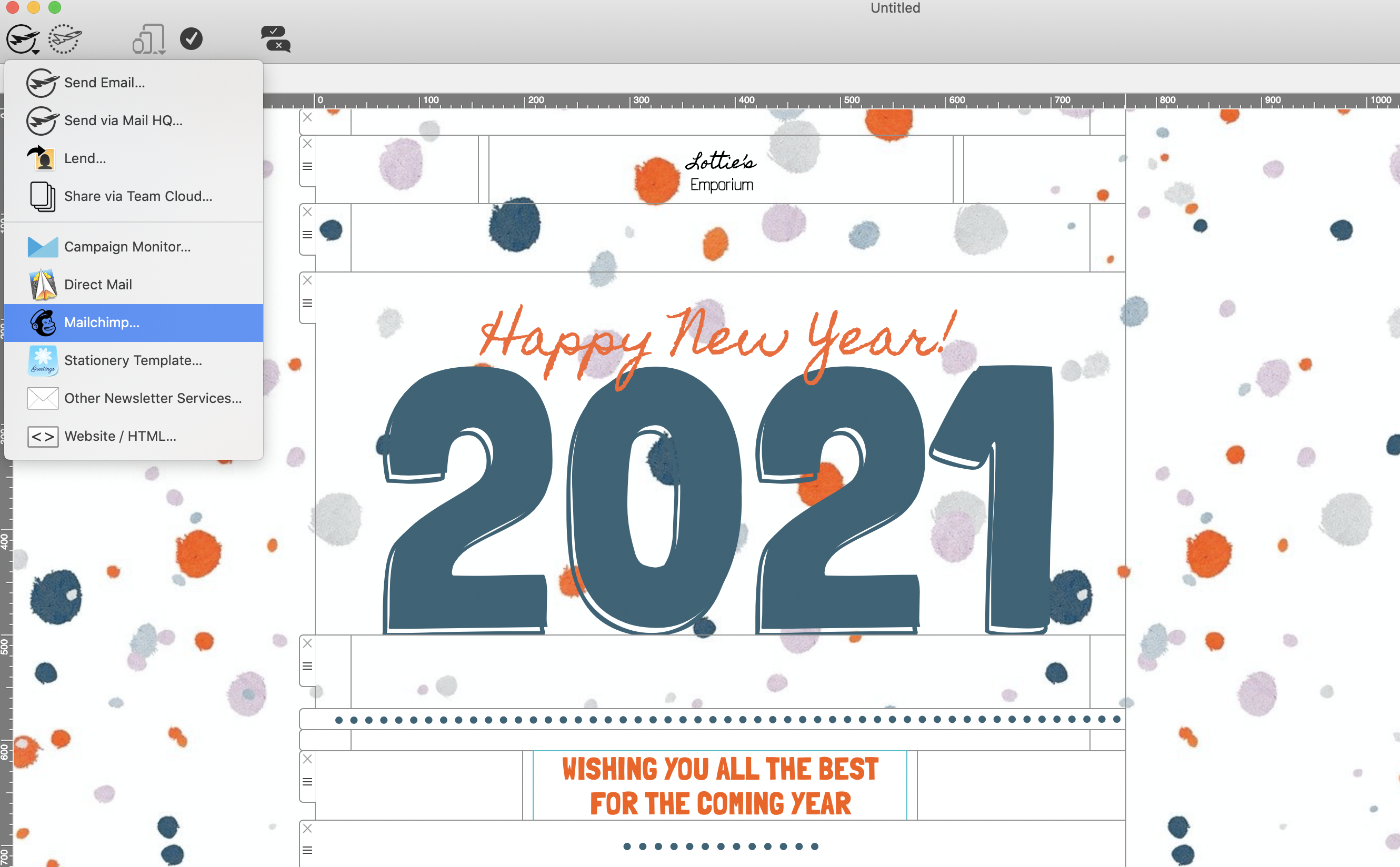 Sending a Mail Designer 365 holiday email template to use with Mailchimp