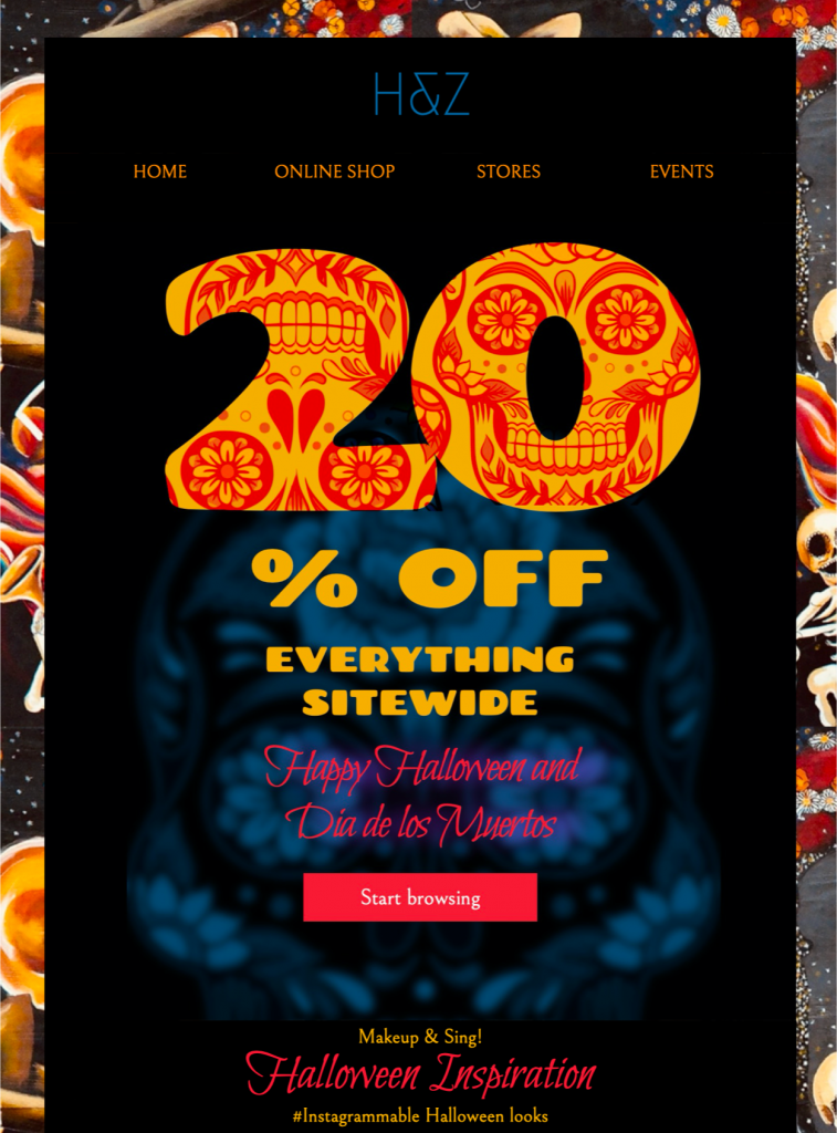 html email template for day of the dead