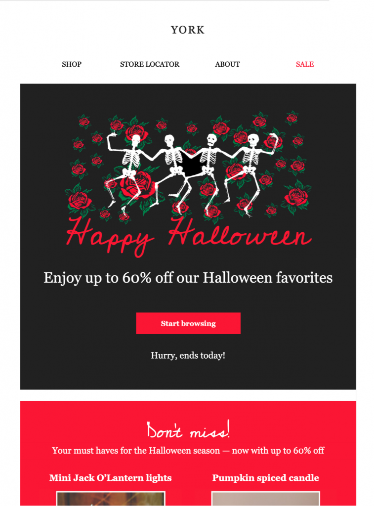 promotional html email template for halloween campaigns