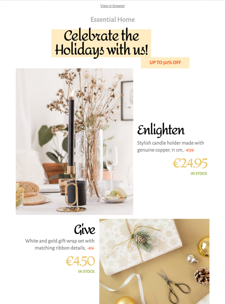 Holiday Shopping HTML email template