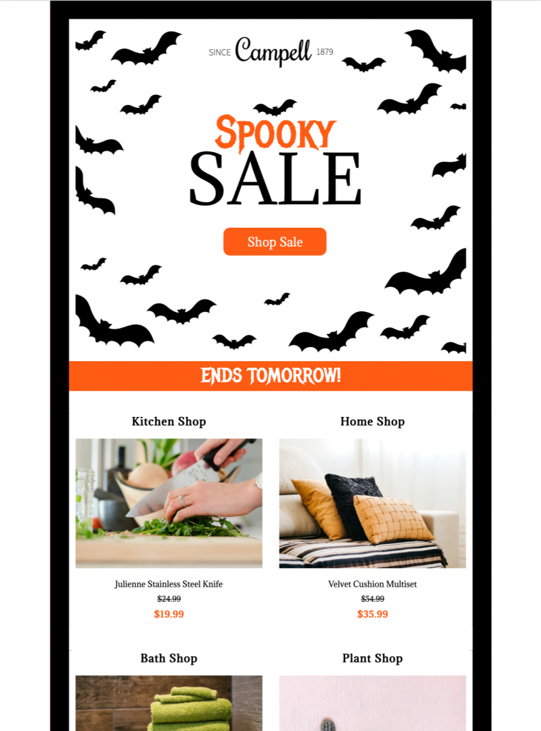 html email design for halloween sale