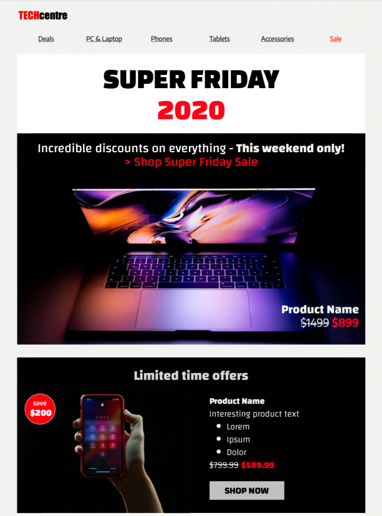 HTML email template for Black Friday promotions