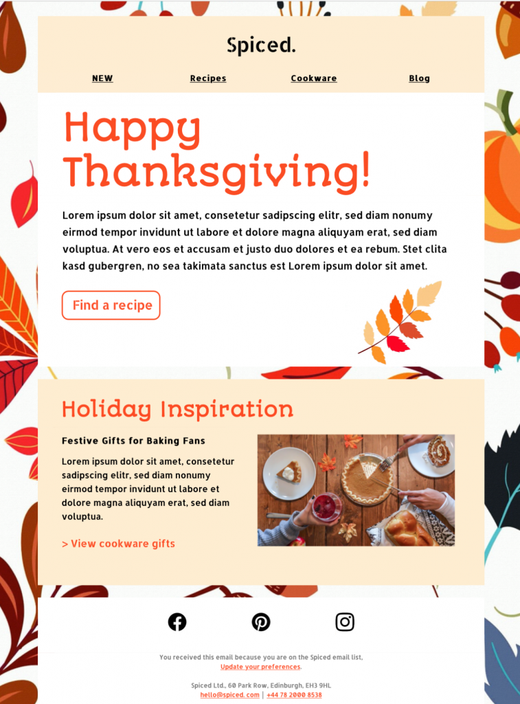 Thanksgiving HTML email template