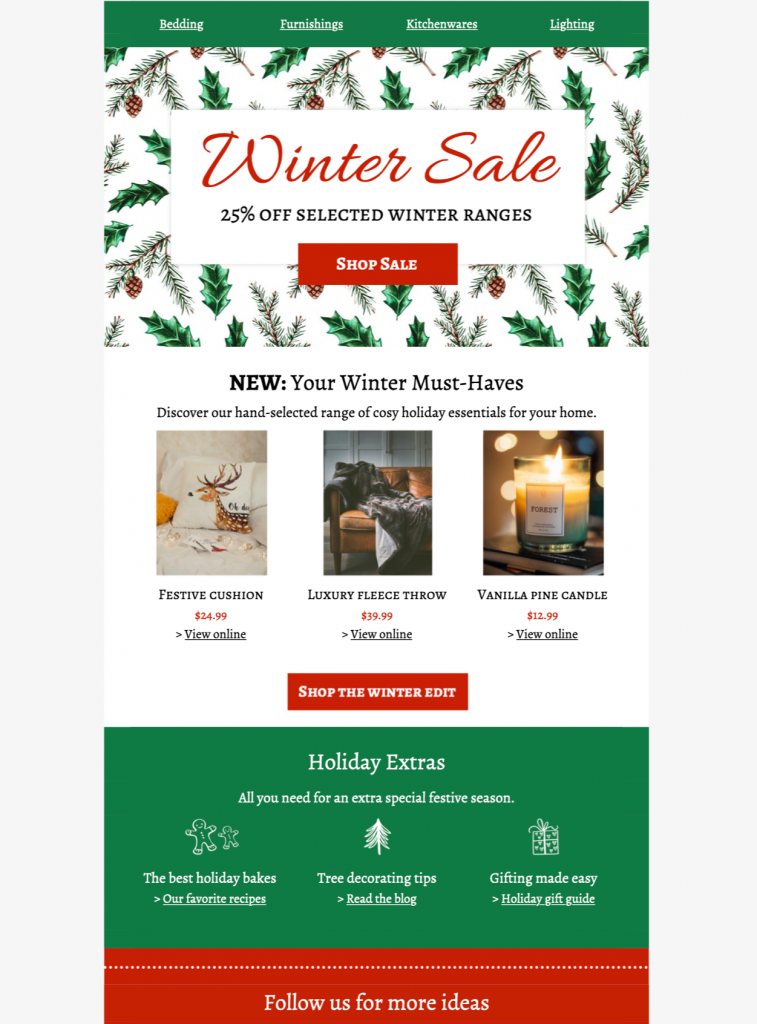 Winter sale HTML email design