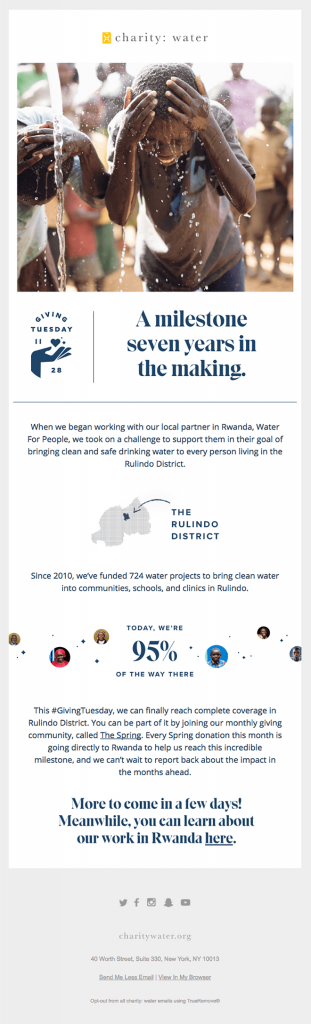 Giving Tuesday campaign by Charity: Water