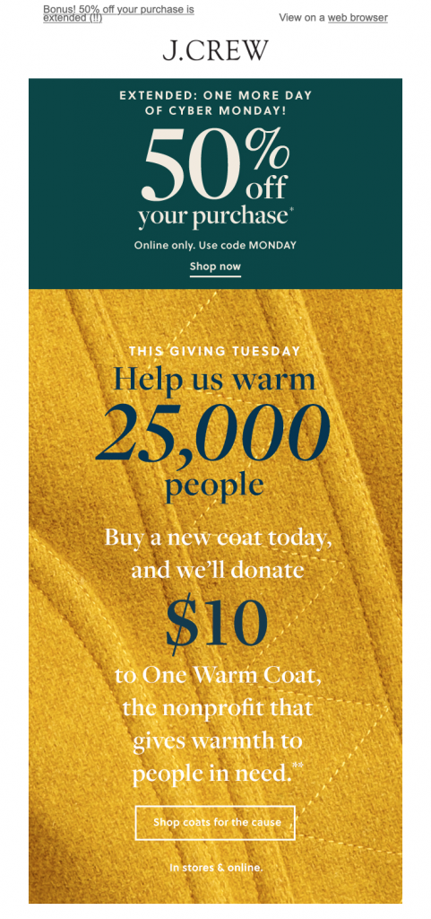 Giving Tuesday promotion by J Crew
