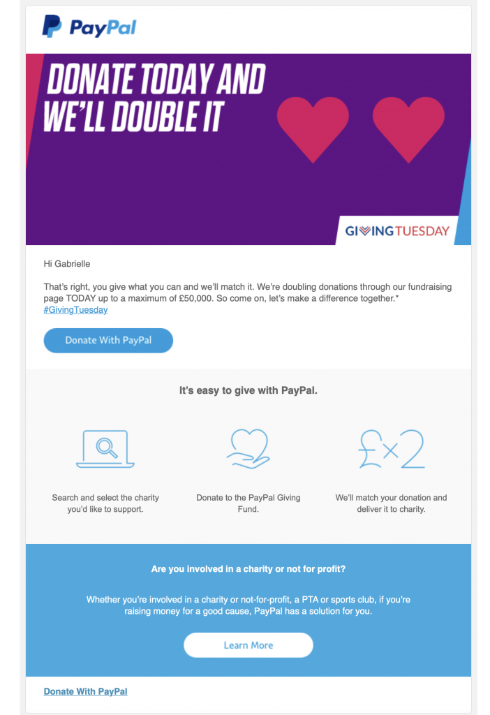 Giving Tuesday campaign by PayPal