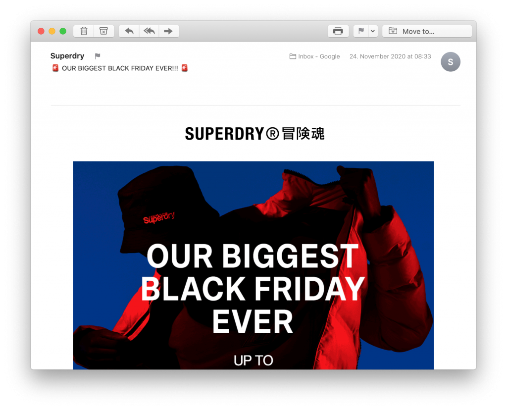 Email by Superdry for Black Friday