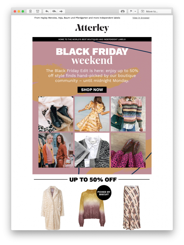 Atterley Black Friday email campaign