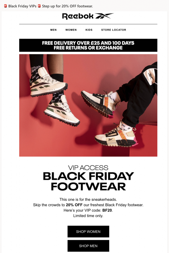 Early Black Friday campaign by Reebok