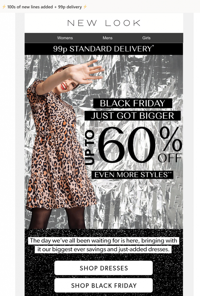 Black Friday email by New Look