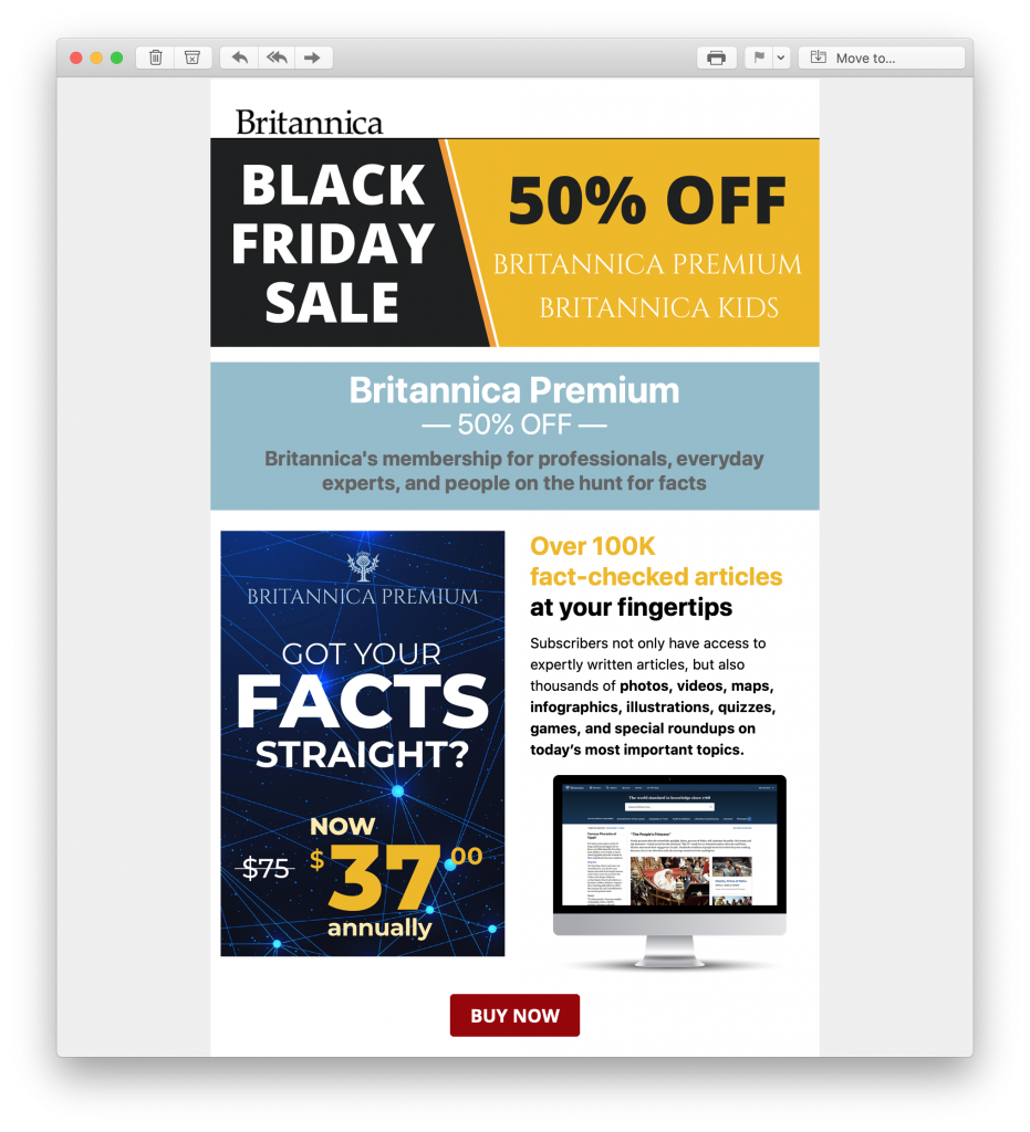 Black Friday promotion by Britannica