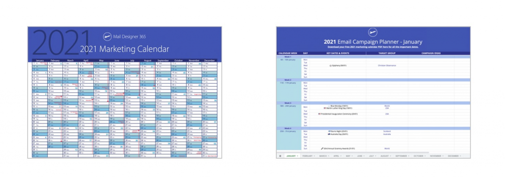2021 email marketing calendar and planner