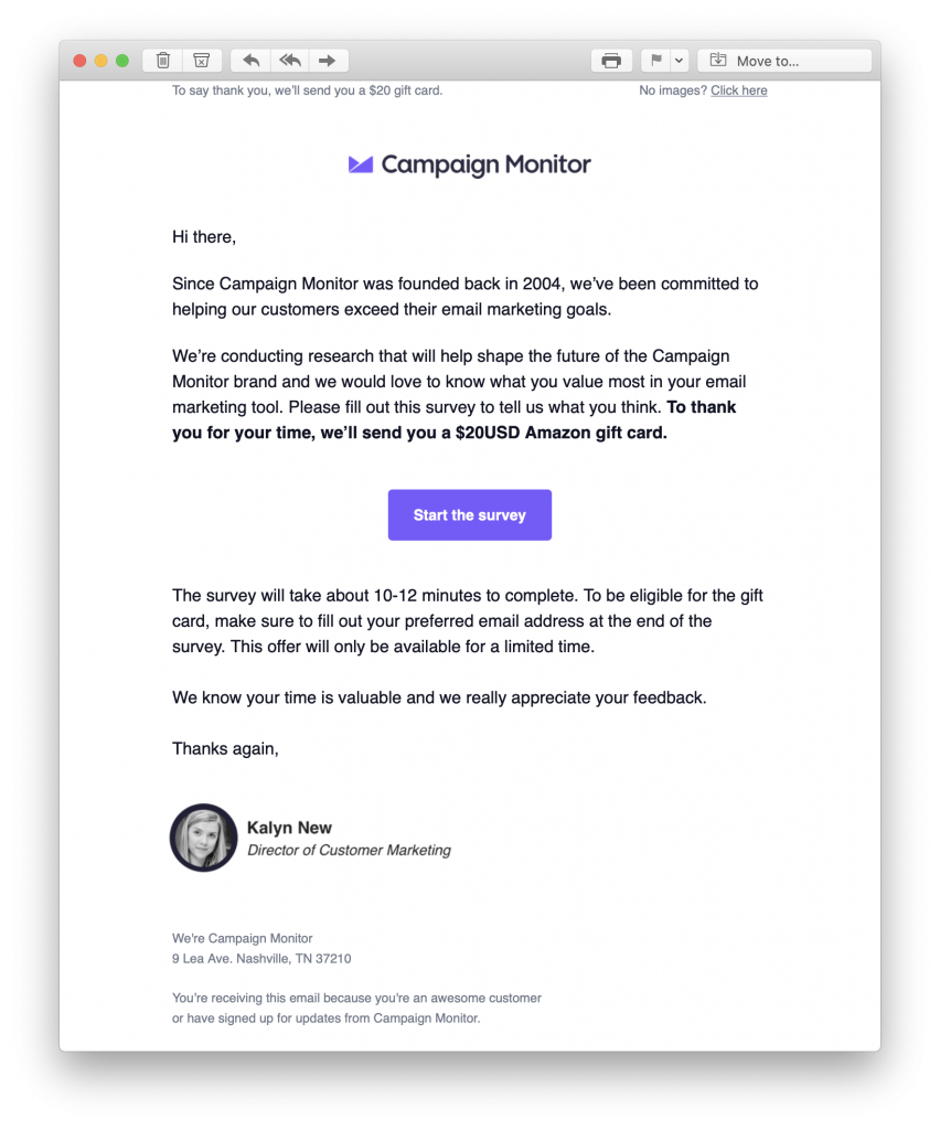 Feedback email by Campaign Monitor