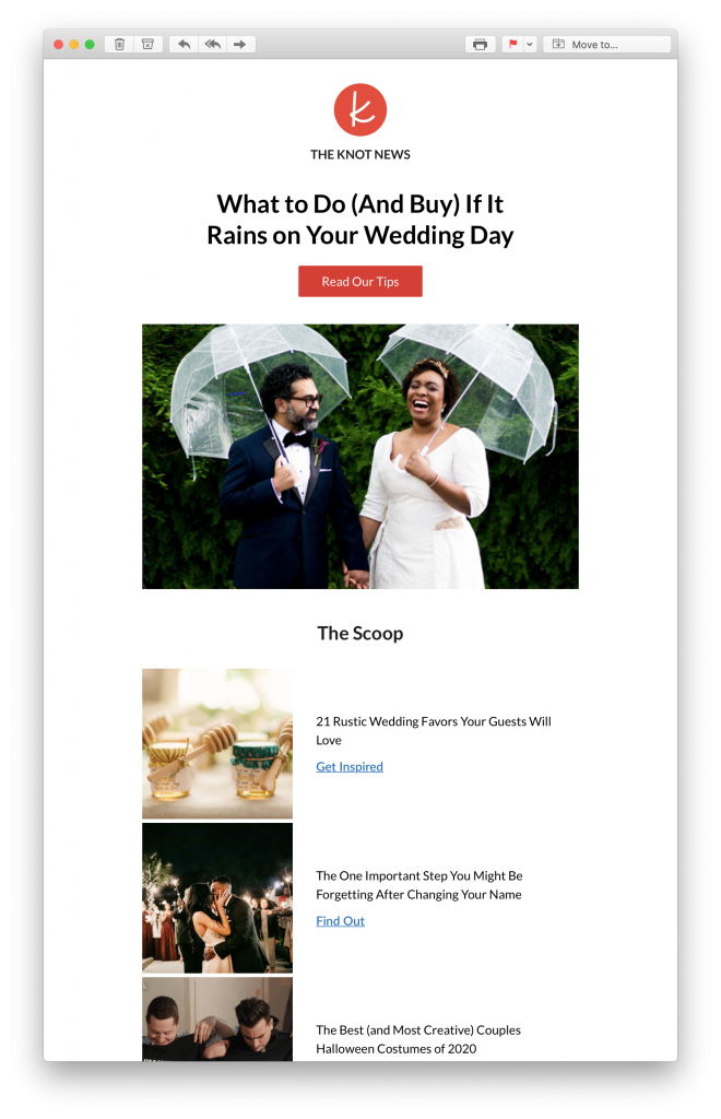Content marketing newsletter by The Knot