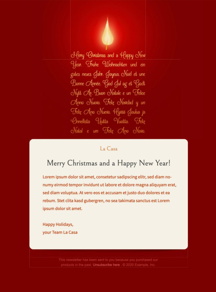 Christmas candle email template