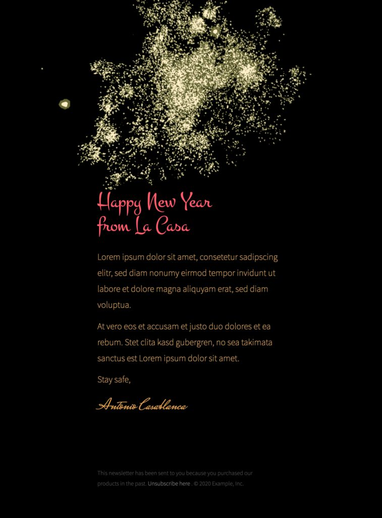 firework themed new year email design