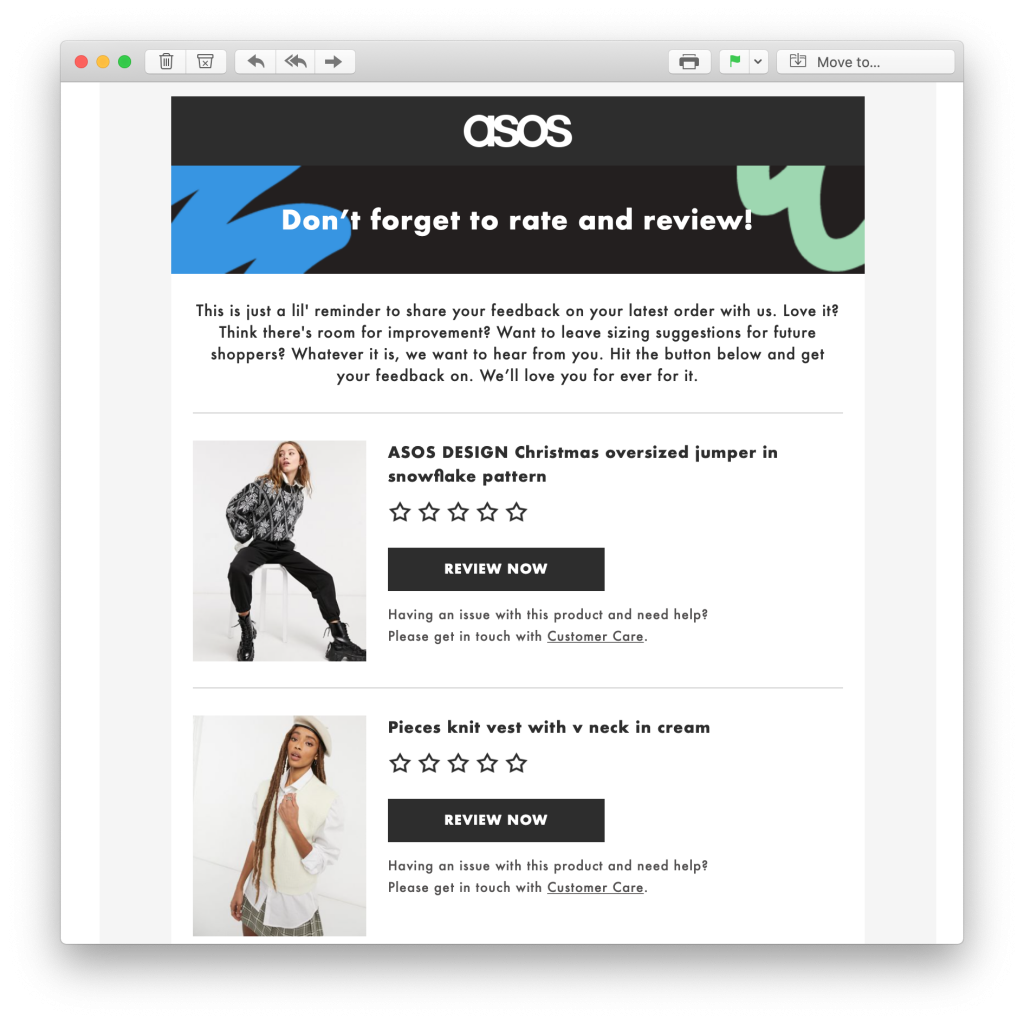 feedback request email by ASOS