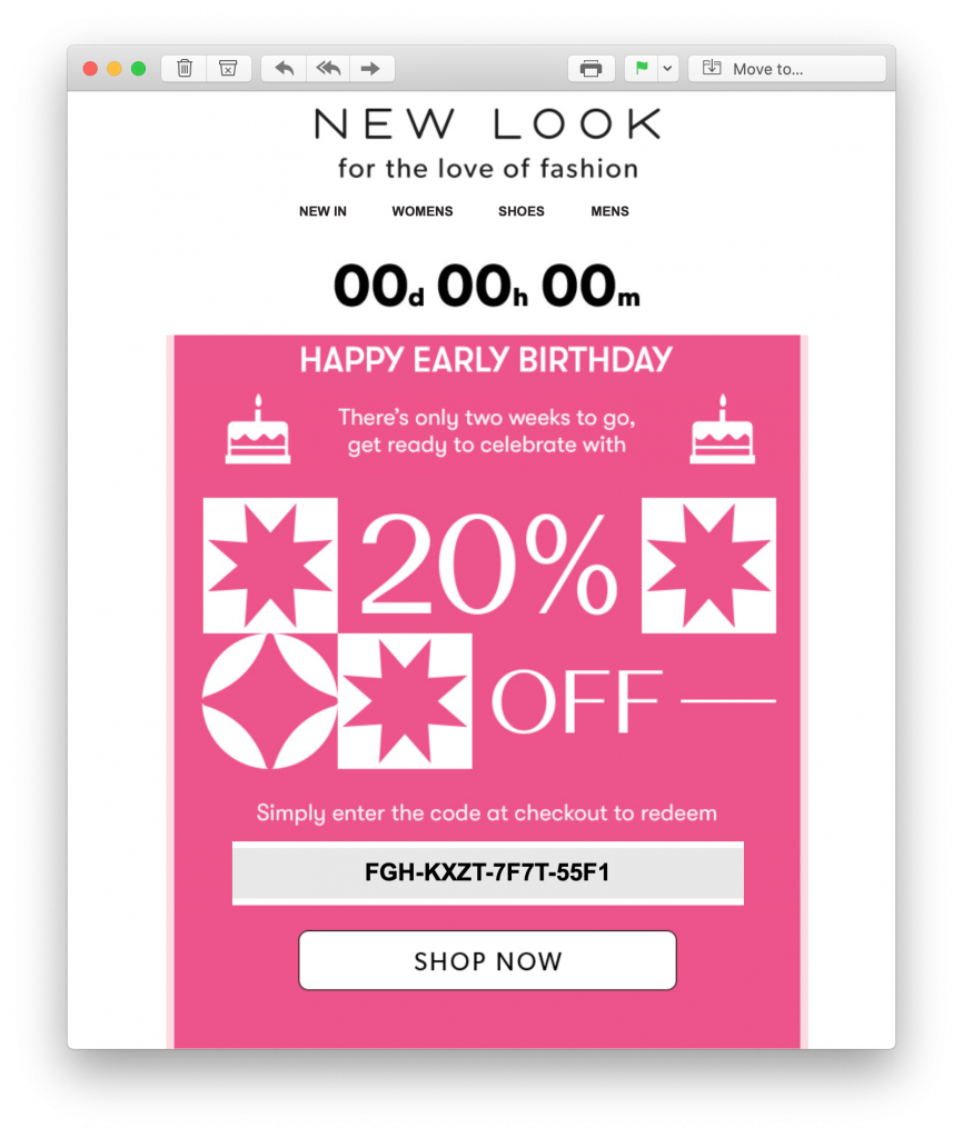 automated birthday email by new look