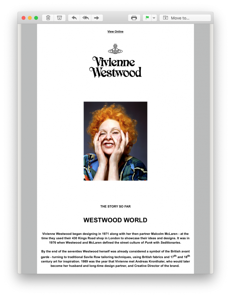 welcome email by Vivienne Westwood