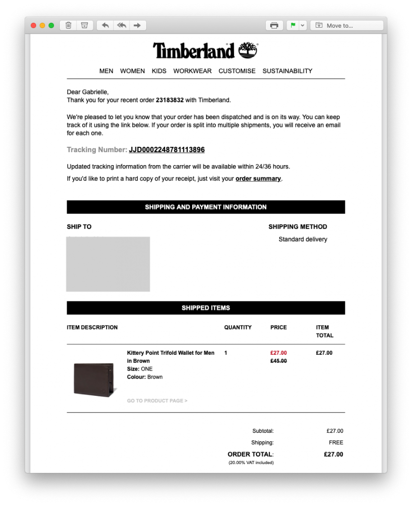 Tracking email by Timberland