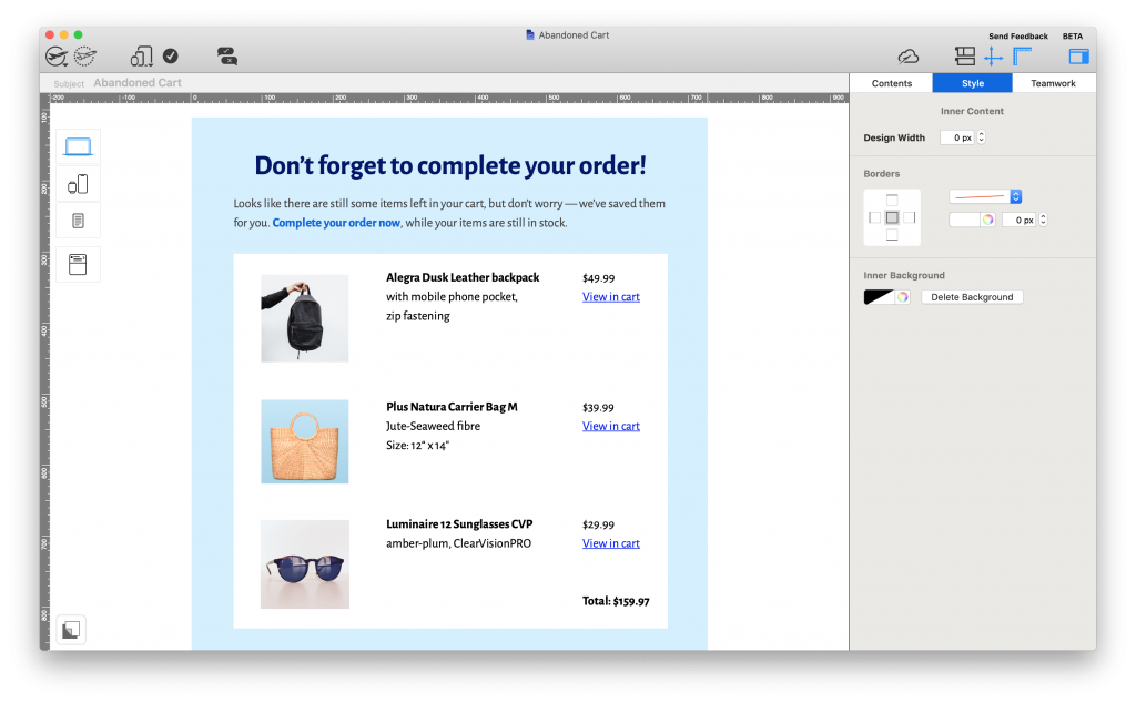 Abandoned cart automated email template created in Mail Designer 365