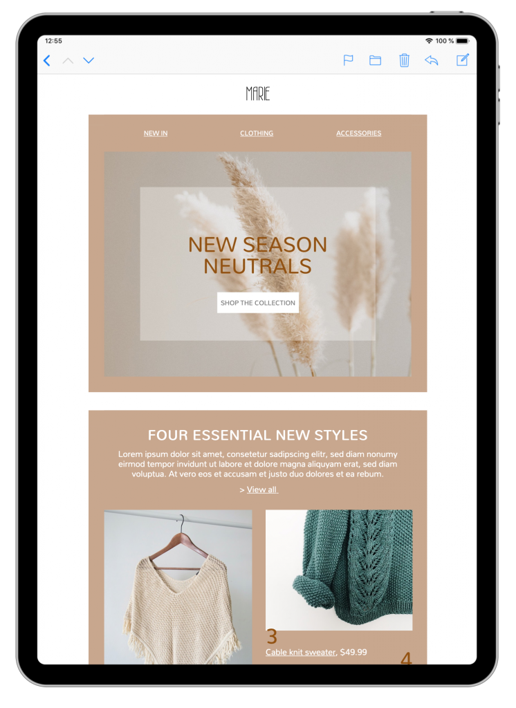 fashion email template in mail designer 365